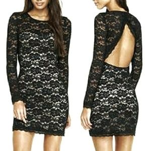 EXPRESS | Sexy Open Back Lace Overlay Dress Large